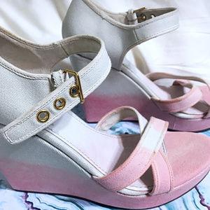 Sale! Miu miu Pink and White Tie-Dye Wedges